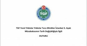 TGF YYT Minikler İstanbul 3. Ayak müsabakası ertelendi
